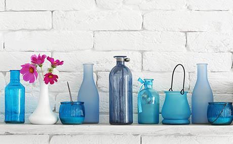 Inspiracion colores deco botellas cristal azul