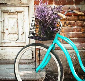 Inspiracion deco flores bicicleta azul